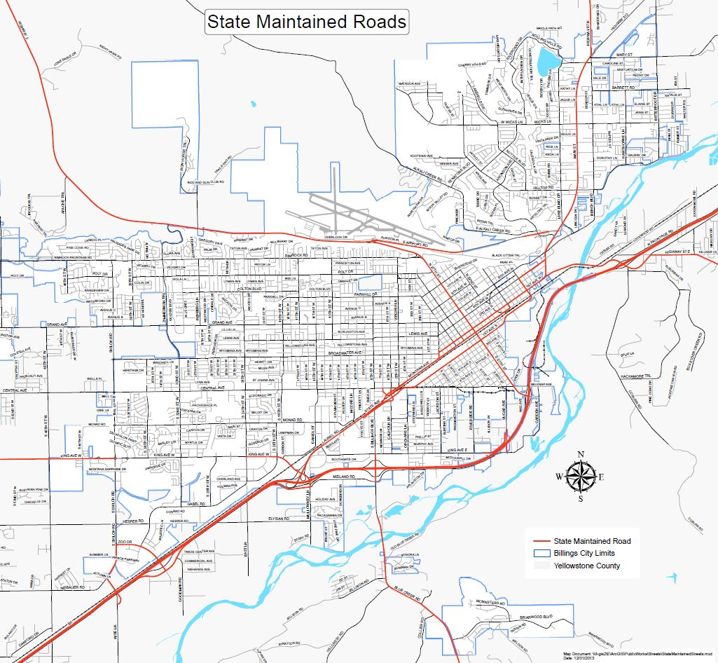 State Route Map City Of Billings MT Official Website - Montana cities map