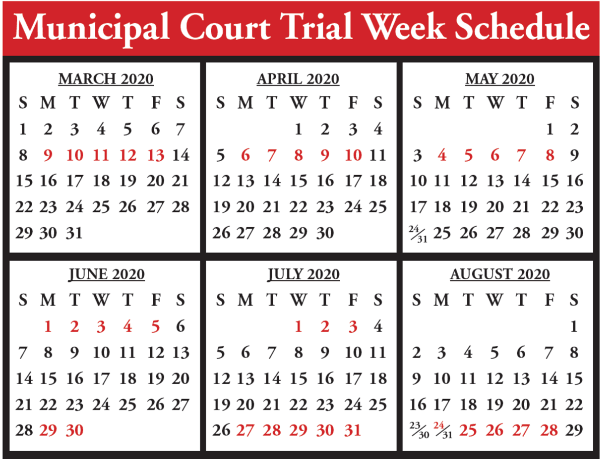 Court Calendar March 20 to Aug 20